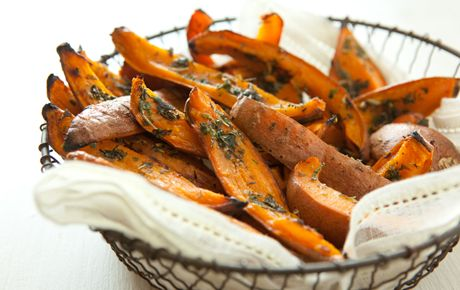 herb roasted sweet potato skins (instead of herbs, try curry powder)