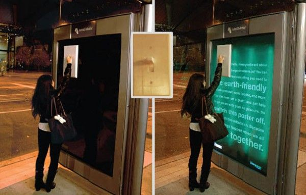 This is a great example of interactive advertising. Wouldn't you read the message after turning it on? | Guerrilla Advertising | Ambient Advertising |