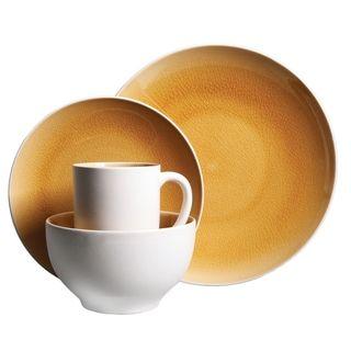 gibson serenity amber yellow 16piece dinnerware set service for 4 16 piece stoneware textured