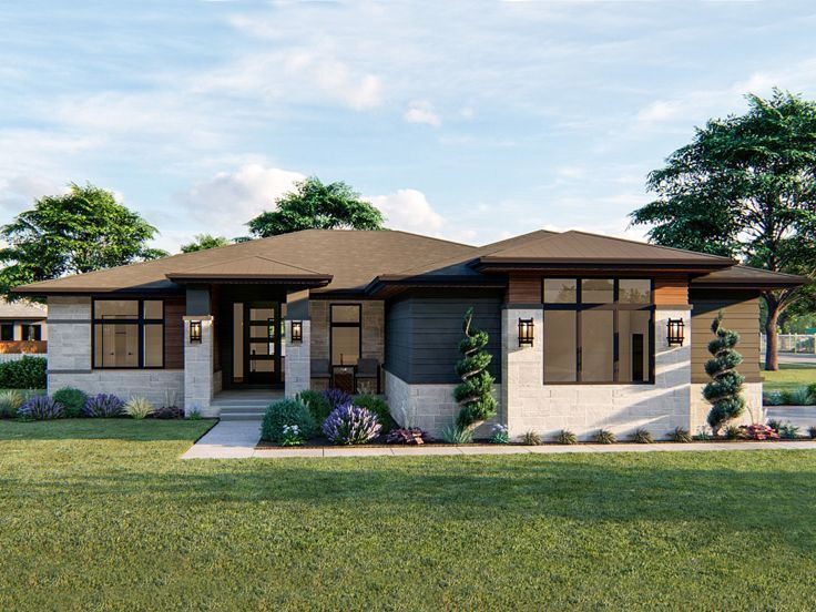 Contemporary House Plan 050h 0319 Prairie Style Houses Contemporary House Plans Prairie House
