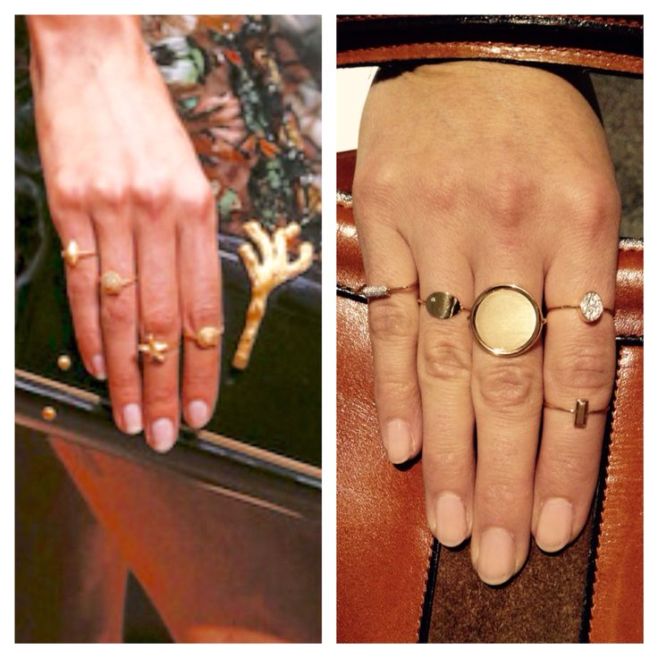 Vogue Paris: trend seen at Valentino: mix and match gold rings. WEAR the trend with our GINETTE_NY gold and diamand rings, available at Bleu comme le ciel!
