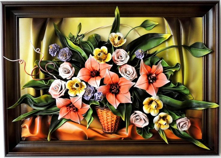 Leather Spring Bouquet...  Handcrafted Leather Wall Hanging Art - Spring Bouqet Every Artwork takes a lot of time and work, beautiful design with highest quality. Elegant and fine construction enrich your home or office.  http://www.makmarketplace.com/leather-spring-bouquet