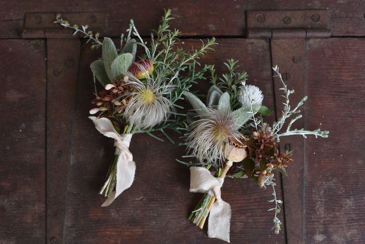 April Wedding, Buttonhole, Boutonniere, silk ribbon, clematis seed head, Gomphrena, grey foliage, rustic, whimsical