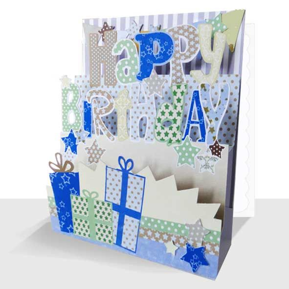 3d Happy Birthday Card - Neutral Colours, Unique Greeting Cards Online, 3d Luxury Handmade Cards, Unusual Cute Birthday Cards and Quality Christmas Cards by Paradis Terrestre