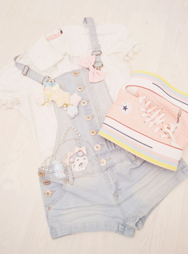 Kawaii dungarees and platform trainers. I wonder if they are easy to walk in or not... (-'_'-)