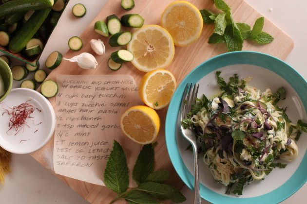 Zucchini and Pasta Noodles with Garlicky Yogurt Sauce