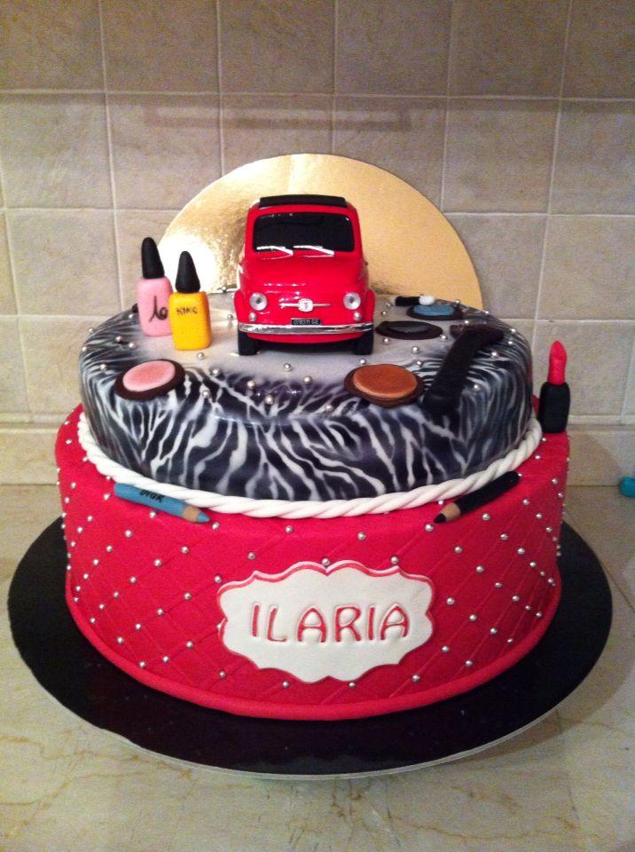 Torta Fashion Fiat500 #cake #fashion #torta #cakedesign #chiryscakes #birthday #compleanno #fiat500 #ragazza #18anni #zebrato #trucchi #trapuntato