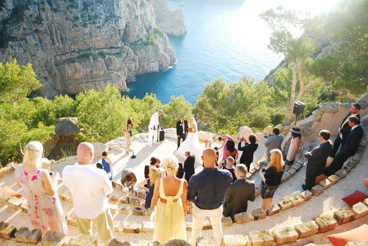 IBIZA ~ A breathtakingly beautiful cliff side ceremony location, at Hotel Hacienda Na Xamena http://www.hotelhacienda-ibiza.com/en Amazing unique wedding venue.