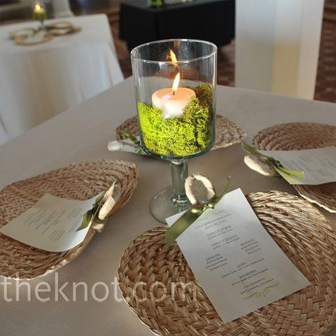 Real Weddings - A Casual Waterfront Wedding in San Clemente, CA - Candle and Moss Centerpieces