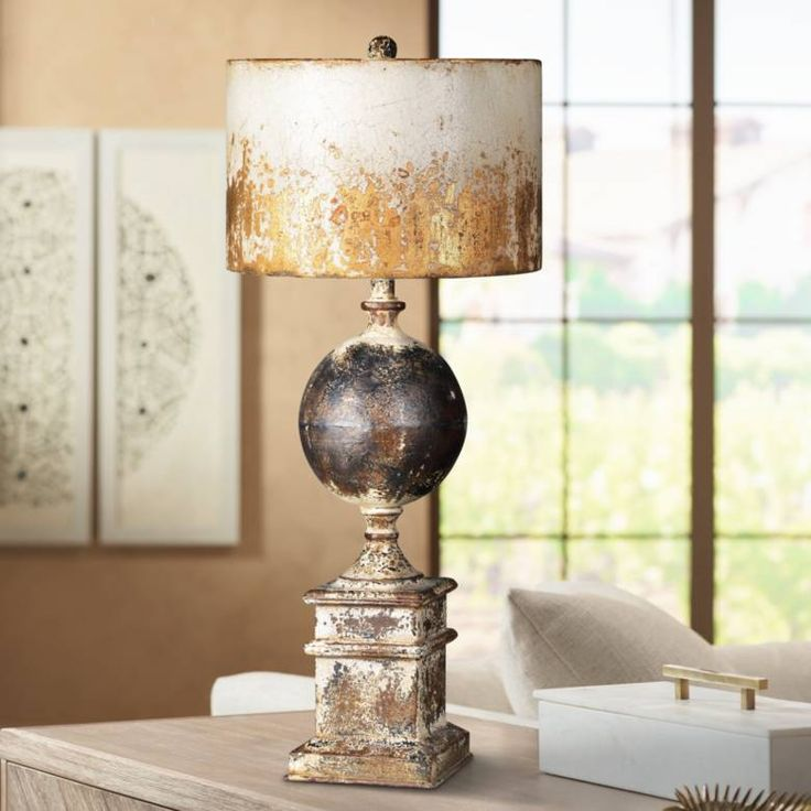 Shiloh Weathered Metal Cream Black And Brown Table Lamp 70a62 Lamps Plus Brown Table Lamps Country Table Lamp Farmhouse Table Lamps