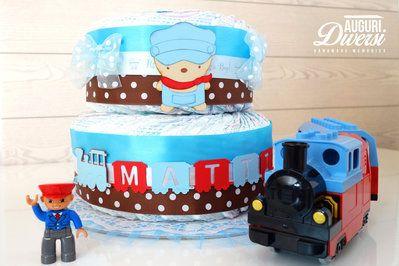 Torta di pannolini 2 piani (45 pannolini Pampers Baby Dry tg.3) - Nascita, Baby Shower, Battesimo www.facebook.com/AuguriDiversi
