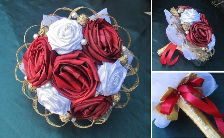 Bridal Bouquets - Fabulous Flax Red and white with gold flax and fabric wedding bouquet