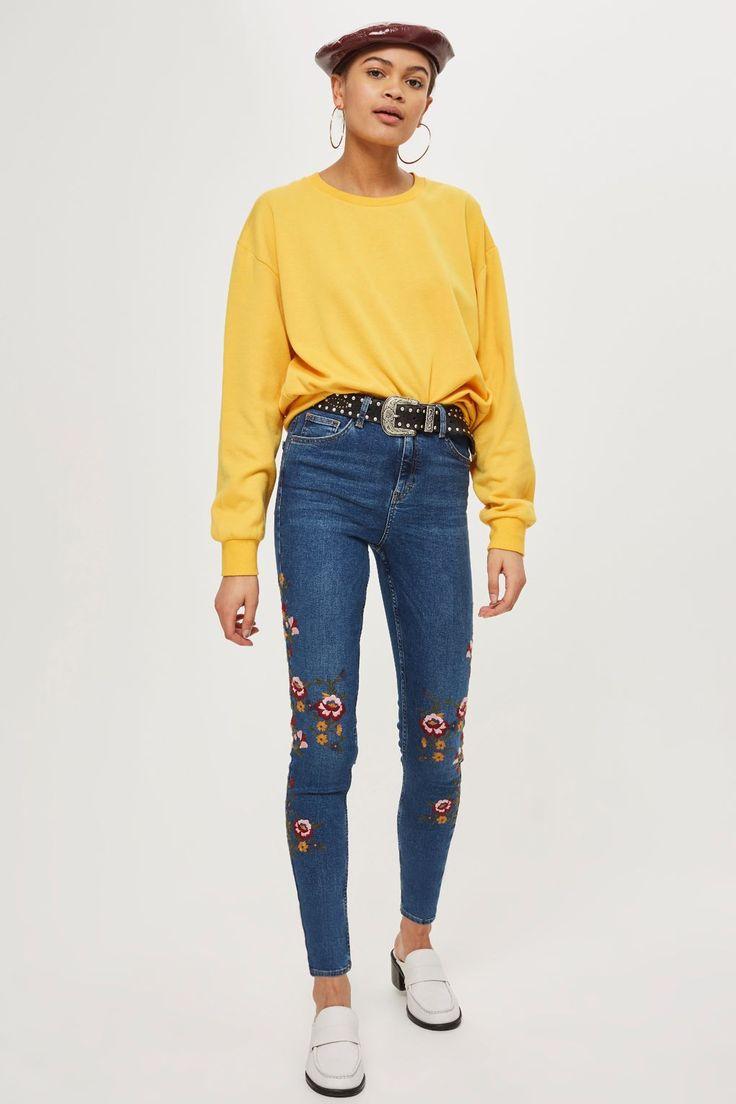 MOTO Mid Blue Floral Jamie Jeans