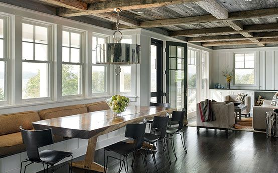 Modern rustic dining room living room Rough hewn beam ceiling