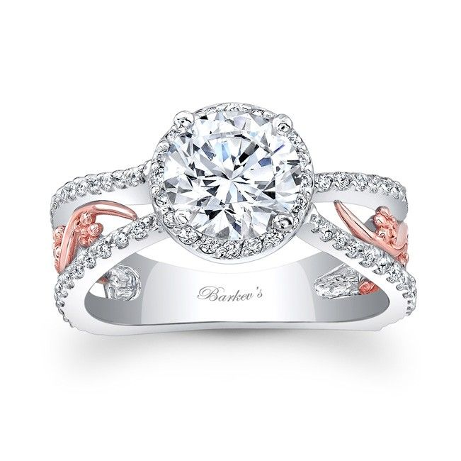 White & Rose Gold Engagement Ring 7885LTW This bold and elegant two t