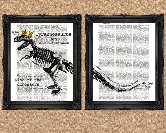 T-Rex dinosaurus Art Tyrannosaurus Rex van TheCuriousHat op Etsy