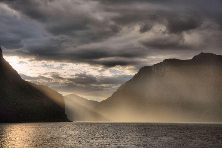 Dramatic evening light on Aurlandsfjorden