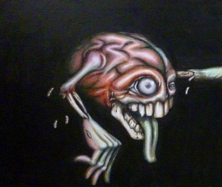 Brain Dead Part 1 by Jon Hoffman Alternative Tattoo Canvas Art Print