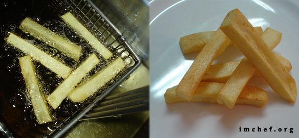 4 Tecnicas para realizar papas fritas. Diversos metodos para freir papas o patatas. Analisis, pasos, tipos y diferencias. Papa frita, patata frita, fritura.