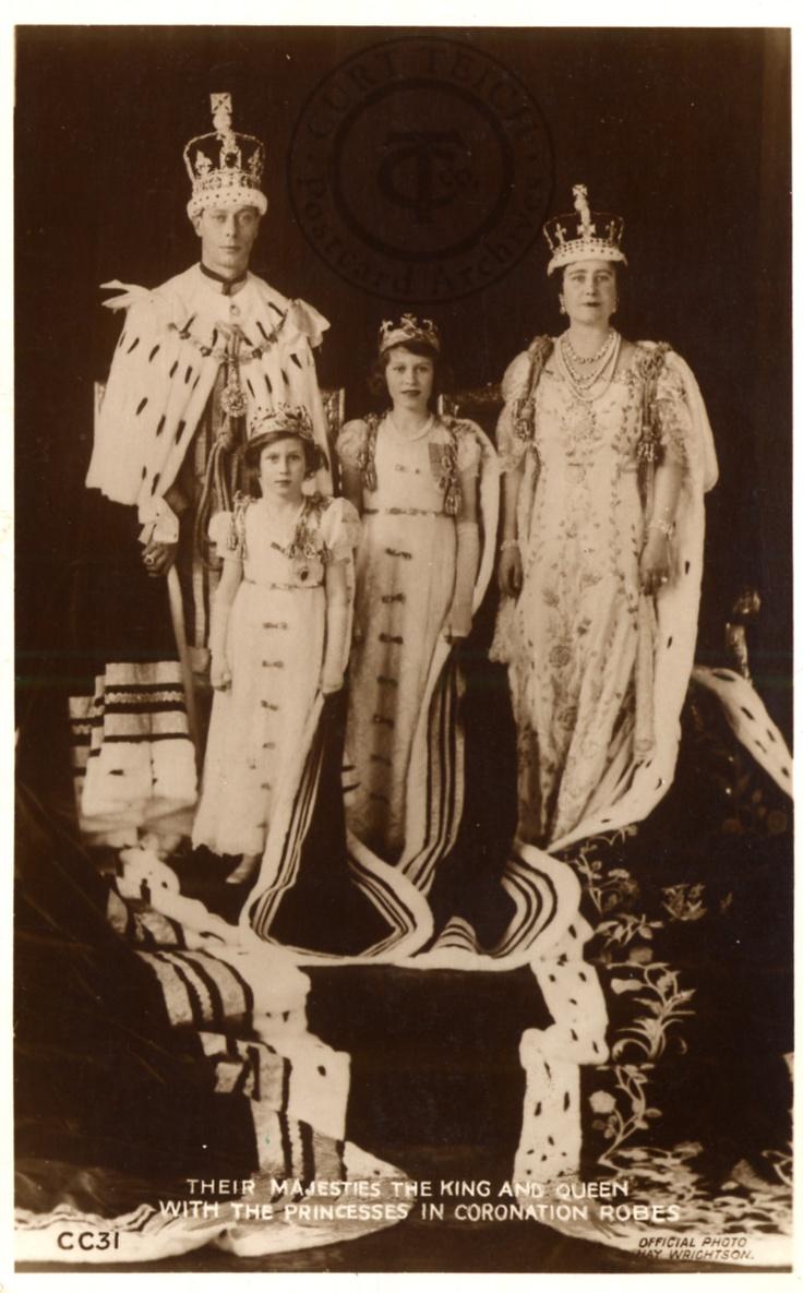 King George VI, Queen Elizabeth, Princess Elizabeth, and Princess Margaret Rose on George VI's coronation day