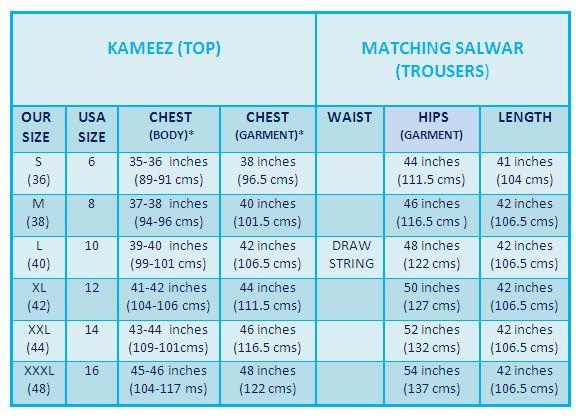 Women\u0027s Salwar Kameez  Punjabi Suit Size Chart How to select