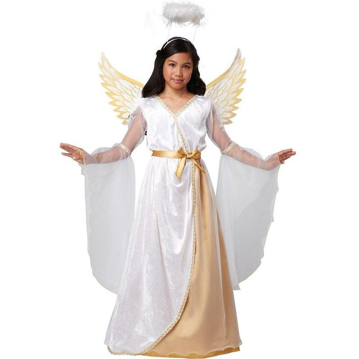 Guardian Angel Costume - Kids, Girl's, Size: 8-10, White