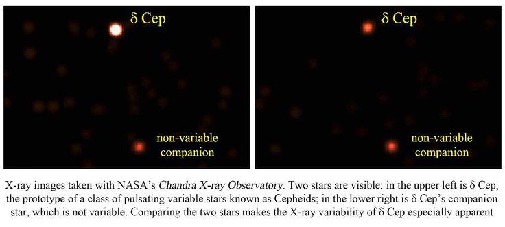 Una nueva clase de estrellas pulsantes en rayos X. Imágenes en rayos X tomadas con el observatorio de rayos X Chandra de NASA. En se ellas se ven dos estrellas: arriba a la izquierda se encuentra delta Cephei, el prototipo de un tipo de estrellas variables pulsan conocidas como cefeidas; abajo a la derecha está la compañera de delta Cephei, que no es variable. La comparación entre las dos imágenes hace patente la variabilidad en rayos X de delta Cephei. Crédito: NASA.