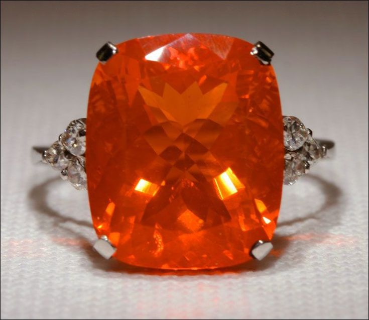 Mid-Century Huge Fire Opal and Diamond Ring in Platinum from vsterling on Ruby Lane #GoldJewelleryBirdOfParadise