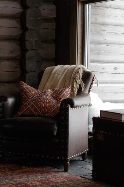 Scandinavian Chalet Interior, Leather Chair — Christian's & Hennie - www.christiansoghennie.no