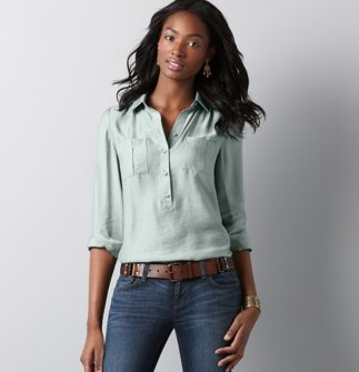 For some reason, I am really into 3/4 sleeve blouses. This one has nice details, but also isn't too girly.