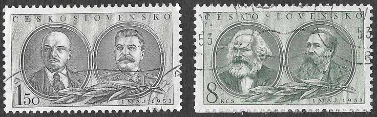 Scott #590 & #592 - Used #590- Vladimir Lenin (1870-1924) Russian communist revolutionary, politician and political theorist & Josef Stalin (1878-1953) Former General Secretary of the Central Committee of the Communist Party of the Soviet Union #592 - 8k - Karl Marx (1818-1883) German philosopher, economist, political theorist, journalist and revolutionary socialist and Friedrich Engels (1820-1895) German philosopher, social scientist. Engels founded Marx Issued Apr 30, 1953 Catalog Value…