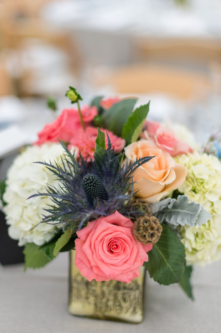 Coral, Navy and Neutral Floral Centerpiece
