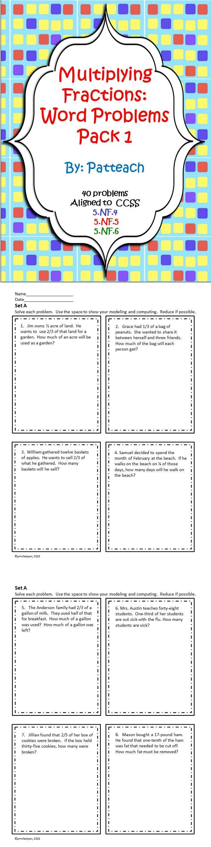 25 Best Ideas About Fraction Word Problems On Pinterest