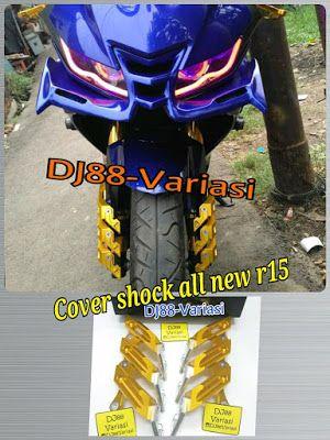 Cover shock cnc all new r15 v3 tutup shock baut spakbor depan black diamond DJ88Variasi