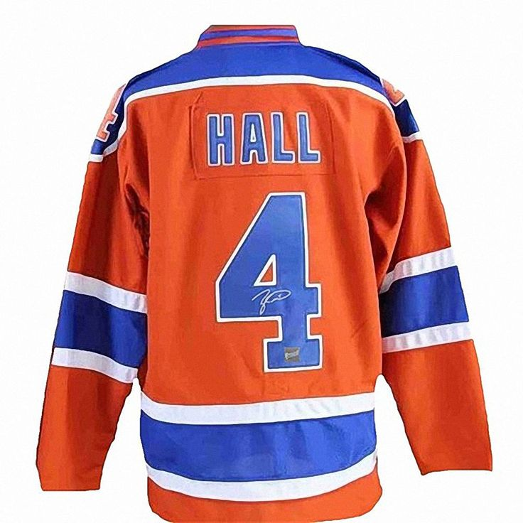 Frameworth Taylor Hall Signed Oilers Orange Reebok Replica Jersey #90-821