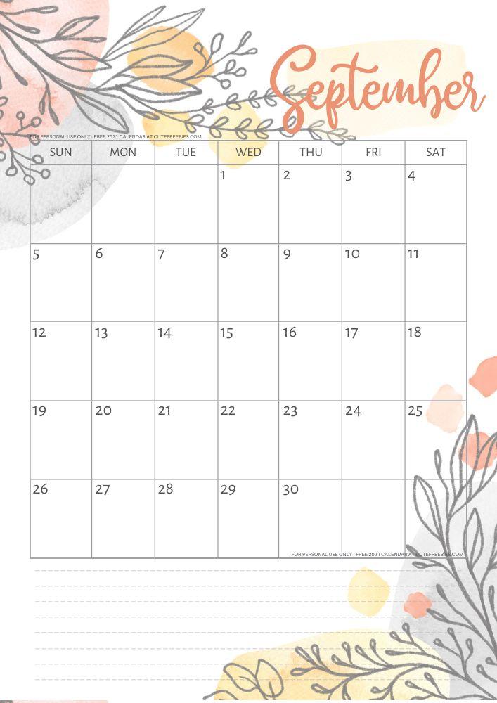 Pretty 2021 Calendar Free Printable Template - Cute ...
