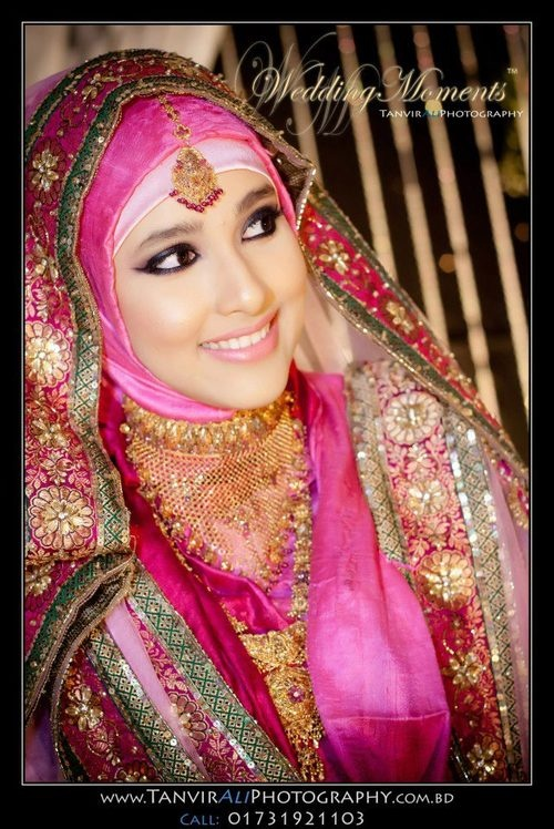 hijabi bride - Muslim fashion for women A beautiful pink, green and gold ensemble Can be worn with a scarf Indian and PakistanI look Lovely embroidered wedding dress worn with gold jewelry Makeup: barbIe pink lipstick and thick black eyeliner