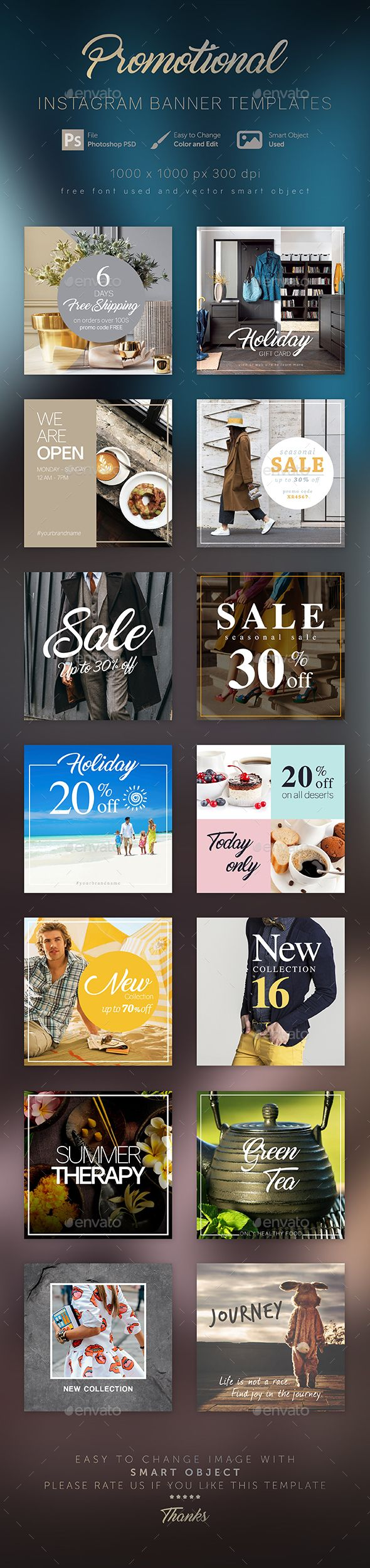 Instagram Banner Templates — PSD Template • Only available here ➝…