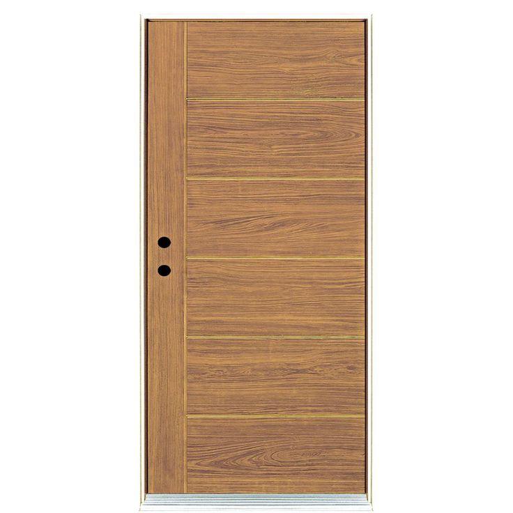 MP Doors 36 in. x 80 in. Contemporary Teak Modern Light Oak Right-Hand Inswing Stained Fiberglass Prehung Front Door
