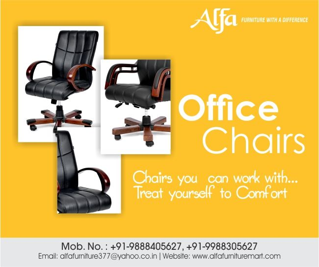 Work comfortably with the best quality office chairs available at Alfa Furniture.   To buy visit - http://www.alfafurnituremart.com/  #officechairs #chairs #chairsforoffice #officefurniture Work comfortably with the best quality office chairs available at Alfa Furniture.   To buy visit - http://www.alfafurnituremart.com/  #officechairs #chairs #chairsforoffice #officefurniture
