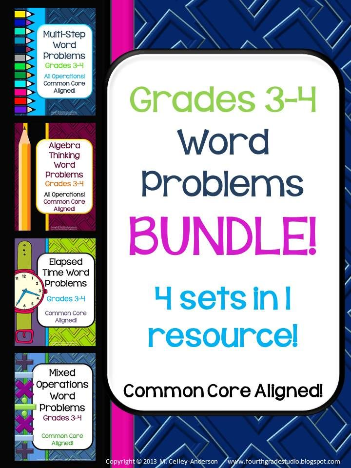 This BUNDLED set of 80 mixed operation (addition, subtraction, multiplication, and division), elapsed time, algebra thinking, and multi-step word problems reflects the Common Core State Standards for grades 3 and 4. It is bundled for those buyers who wish to purchase all 4 sets at a greatly reduced price. Please do NOT purchase this set if you have purchased MORE THAN ONE of the 4 items--if you have purchased only one, this will still save you money! $13.50