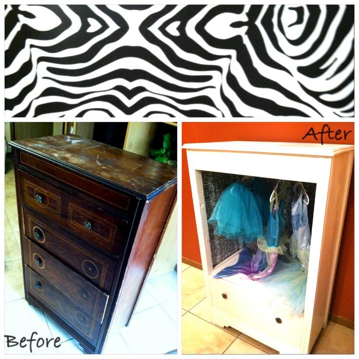 Dress Up Dresser/ Storage Old Wooden Dresser Left Behind Turned Into A Little  Girlu0027s Dress