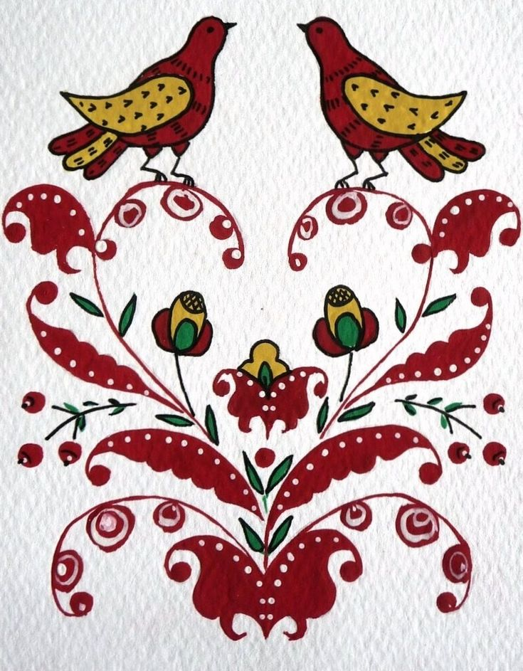Folk Puchug painting from Northern Russia. A pattern with two birds. #folk #art #Russian #patterns