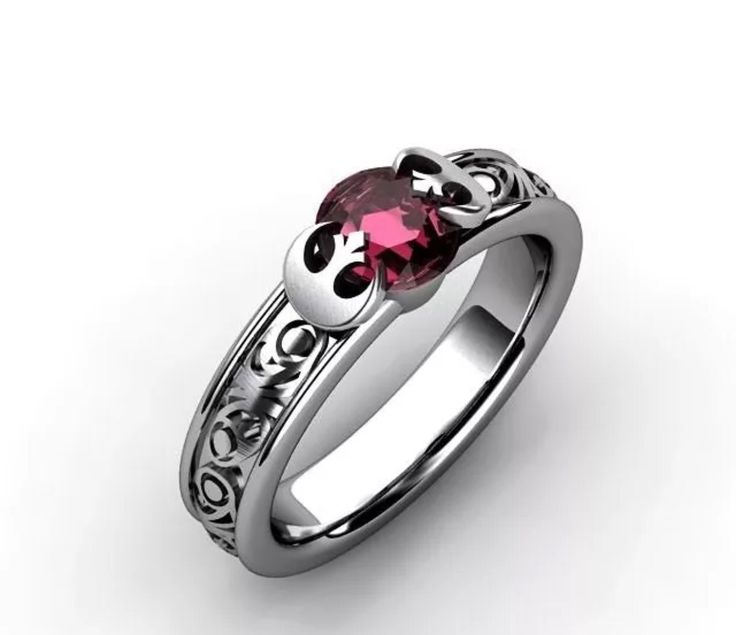 14k white gold and lab created Ruby Jedi Knight ring. please message ring size at time of purchase