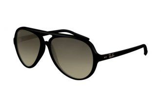 Ray Ban Cats RB4125 Sunglasses Shiny Black Frame Gray Gradient Lens