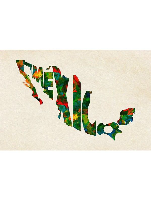 Mexico Typographic Watercolor Map Sticker By A Deniz Akerman