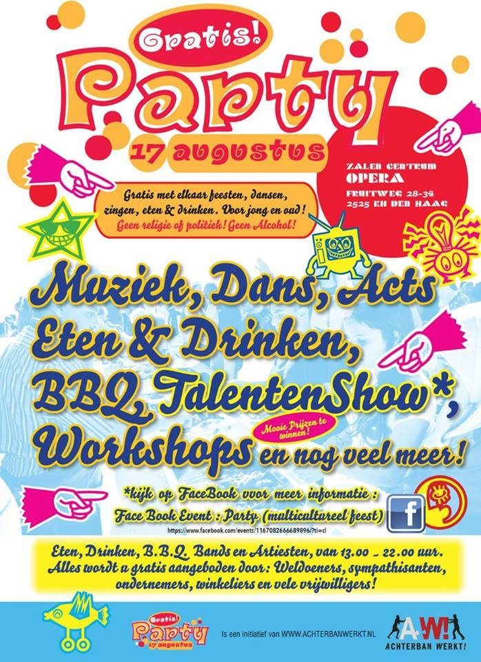 17 Aug – Gratis Party - multicultureel feest – Opera Zalen - Den Haag - http://www.oktip.nl/17-aug-gratis-party-multicultureel-feest-opera-zalen-den-haag/