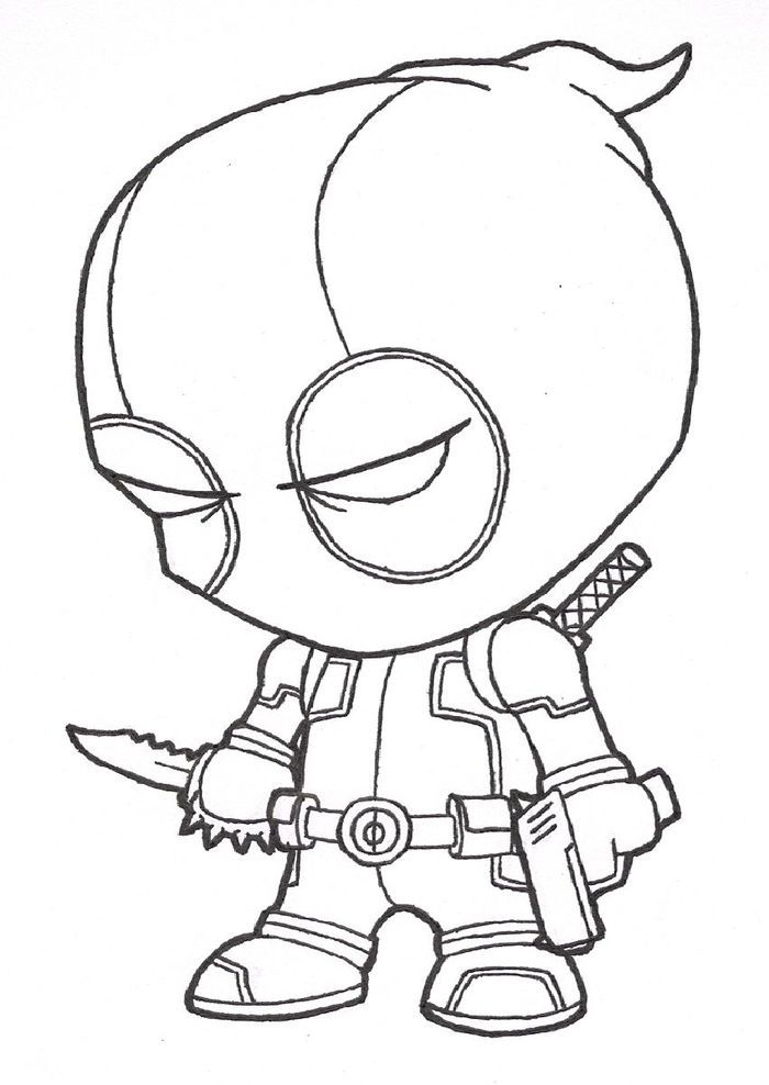 Mini Deadpool Coloring Pages In 2020 Cool Cartoon Drawings Deadpool Drawing Drawing Cartoon Characters