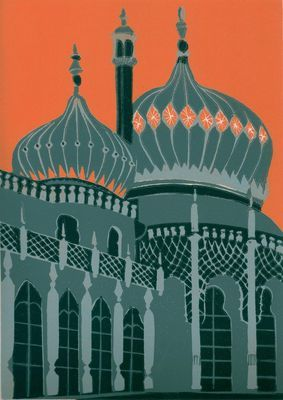 Brighton Pavilion (grey) by Jennie Ing: The Royal Pavilion in Brighton is often referred to as the Brighton Pavilion and was built by the British in the Indo-Saracenic style prevalent in India for most of the 19th century