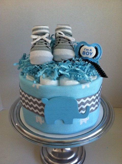 Blue Elephant and Gray Chevron Mini Diaper by PooLaLaDiaperCakes, $35.00
